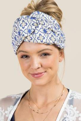 francesca's Dani Knotted Turban Headband in Blue - Blue