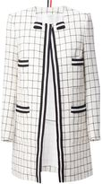 Thom Browne checked coat - women - Silk/Cotton/Wool - 48