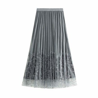 Finerun Women's Pleated Skirts Solid Color A-line Elastic Waist Mid Long Dress Gray