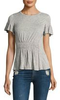 Rebecca Taylor Ruched Cotton Jersey bell Sleeves Tee