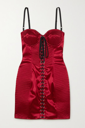 Dolce & Gabbana Lace-up Satin Mini Dress - Red