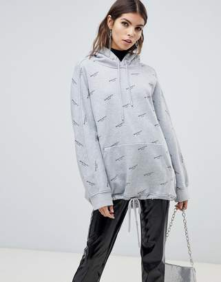 Miss Sixty all over print hoodie with drawstring detail-Grey