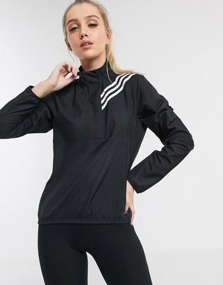 adidas 3 stripe zip thru jacket in black