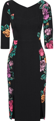 Black Halo Prism Paneled Floral-print Cady Dress