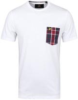 Lyle & Scott White Woven Check Pocket T-shirt