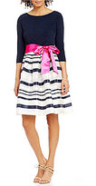 Jessica Howard Belted Striped Party Dress