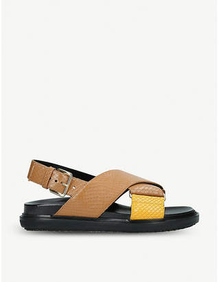 Marni Fussbett cross strap leather sandals