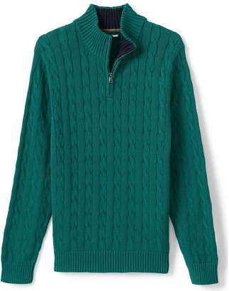 Lands' End Big & Tall Quarter-Zip Cable Drifter Sweater