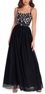 Blondie Nites Juniors' Mirrored Mesh Gown