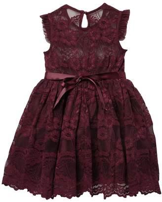 Zunie Flutter Sleeve Scallop Lace Hem Dress (Little Girls)
