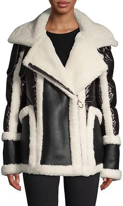 Nicole Benisti Sheepskin-Lined Shearling Notch Puffer Jacket