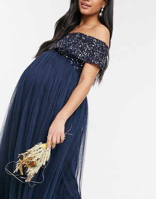 Maya Maternity Bridesmaid off shoulder maxi tulle dress with tonal delicate sequin in navy