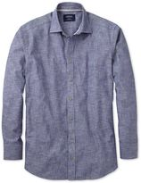 Charles Tyrwhitt Extra Slim Fit Chambray Navy Textured Cotton Casual Shirt Single Cuff Size XS