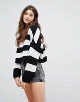 Bershka Striped Cropped Crew Sweater