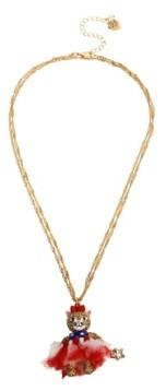 "Betsey Johnson Cat Pendant Convertible Necklace 19-3/4"" + 3"" extender"