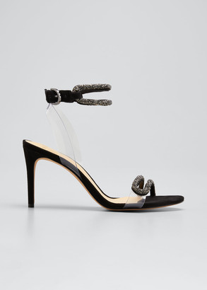 Alexandre Birman Marcella Embellished Ankle-Cuff Stiletto Sandals