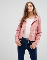 Lavand Pink Faux Leather Jacket