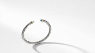 David Yurman Cable Kids Birthstone Bracelet With Blue Topaz And 14K