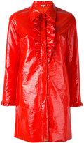 Manoush frill detail coat - women - Polyester/Cotton/Polyurethane/Acetate - 36