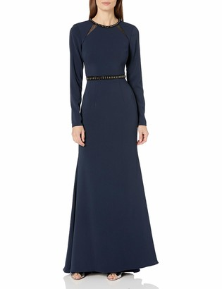 Carmen Marc Valvo Women's Long Sleeve Gown with Beaded Neck and Waist