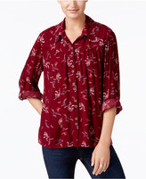 Style&Co. Style & Co Petite Textured Paisley-Print Shirt, Created for Macy's