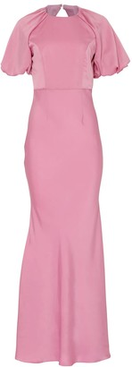 True Decadence Orchid Pink Satin Floor Length Gown With Statement Sleeves