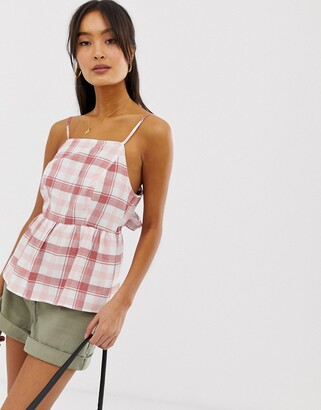 New Look peplum tie back top in red check-Pink