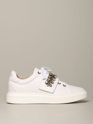 My Twin Sneakers In Leather With Chain And Rhinestones