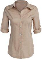 POGT Women's Long Sleeve Lapel Collar Button Down Shirt (S, )
