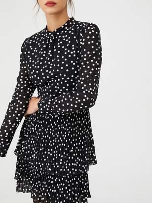 Warehouse Micro Pleat Spot Tiered Mini Dress - Black
