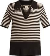 KHAITE Georgia V-neck striped wool-blend polo top