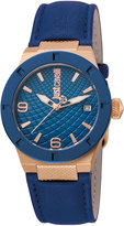 Just Cavalli 34mm Rock Watch w/ Leather Strap, Rose Golden/Navy
