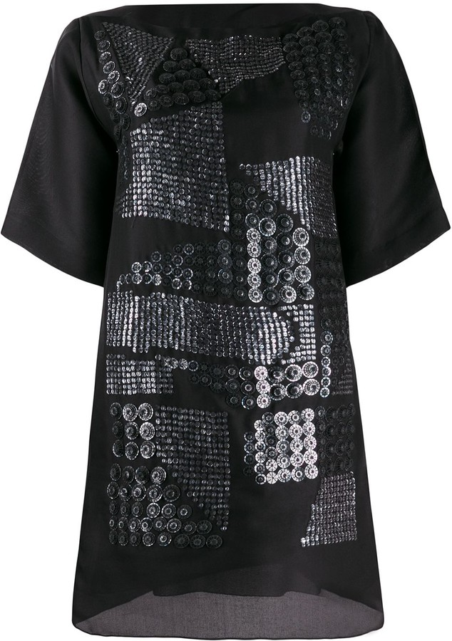 Missoni Pre-Owned asymmetric sequin embroidery T-shirt dress