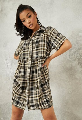 Missguided Brown Plaid Shirt Smock Dress
