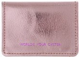 Vida Vida Worlds Your Oyster Metallic Pink Leather Travel Card Holder