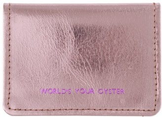Worlds Your Oyster Metallic Pink Leather Travel Card Holder
