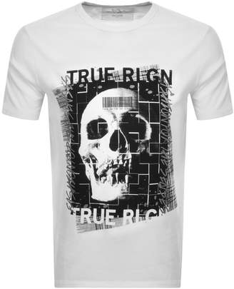True Religion Crew Neck Skull Logo T Shirt White