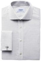 Charles Tyrwhitt Slim Fit Spread Collar Non-Iron White and Black Cotton Dress Casual Shirt Single Cuff Size 15.5/34