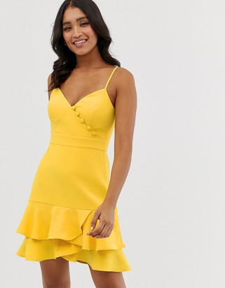 Forever New button detail flippy hem mini dress with belt in yellow