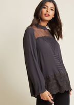 ModCloth Moonlit Stroll Long Sleeve Top in S