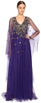 Marchesa V-Neck Caftan w/ Crystal and Beaded Jewel Neckline Women's Dress