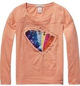 Scotch R'Belle Girl's Boxy Fit Tee with Sequin Artwork T-Shirt,140 (Herstellergröße: 10)