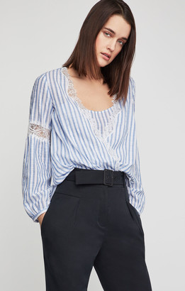 BCBGMAXAZRIA Striped Faux Wrap Top