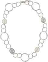 Majorica Hammered Oval Link Baroque Pearl Necklace