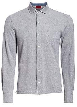 Isaia Men's Piquet Long Sleeves Polo Shirt