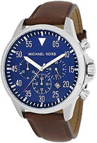 Michael Kors MK8362 Men's Gage Chronograph Brown Leather Blue Dial