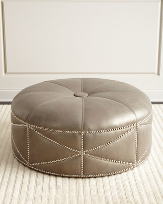 Massoud Hollander Round Leather Ottoman
