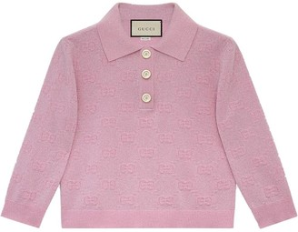 Gucci Pink Sparkle Logo Print Polo Top