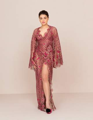 Agent Provocateur Lysianne Long Gown Fuchsia And Gold