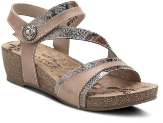 Spring Step L'Artiste By Leather Wedge Sandals- Meera